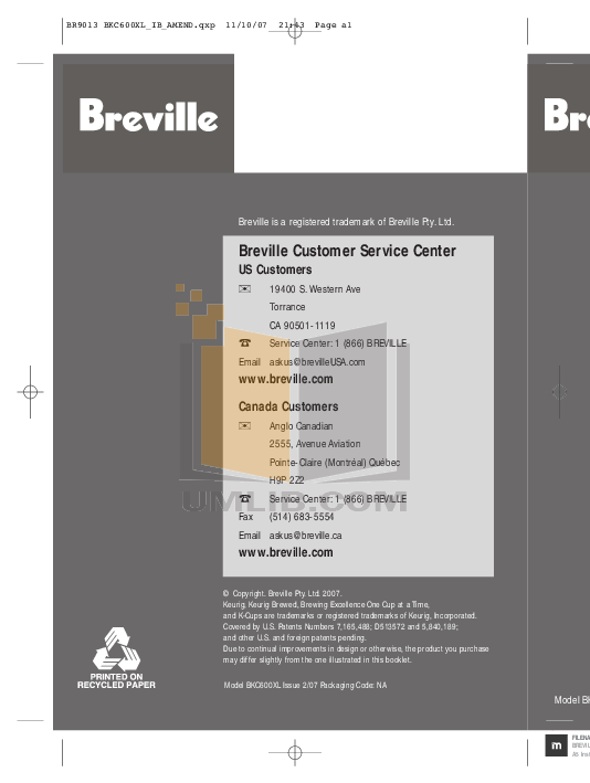 pdf for Breville Coffee Maker BKC600XL manual